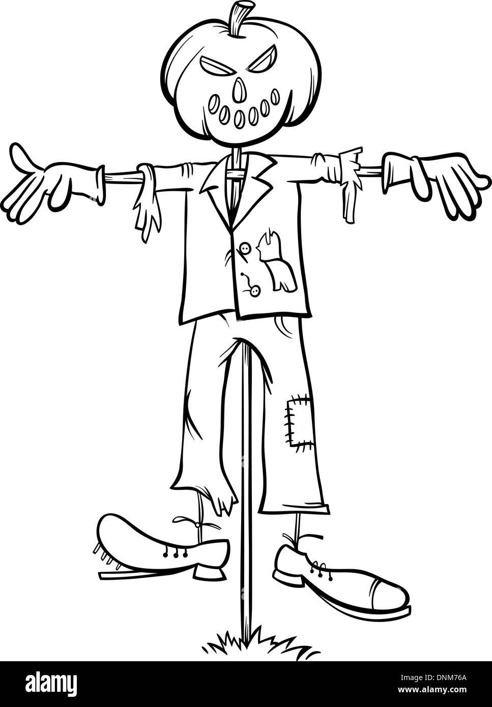 preto e branco cartoon ilustração do assustador halloween scarecrow