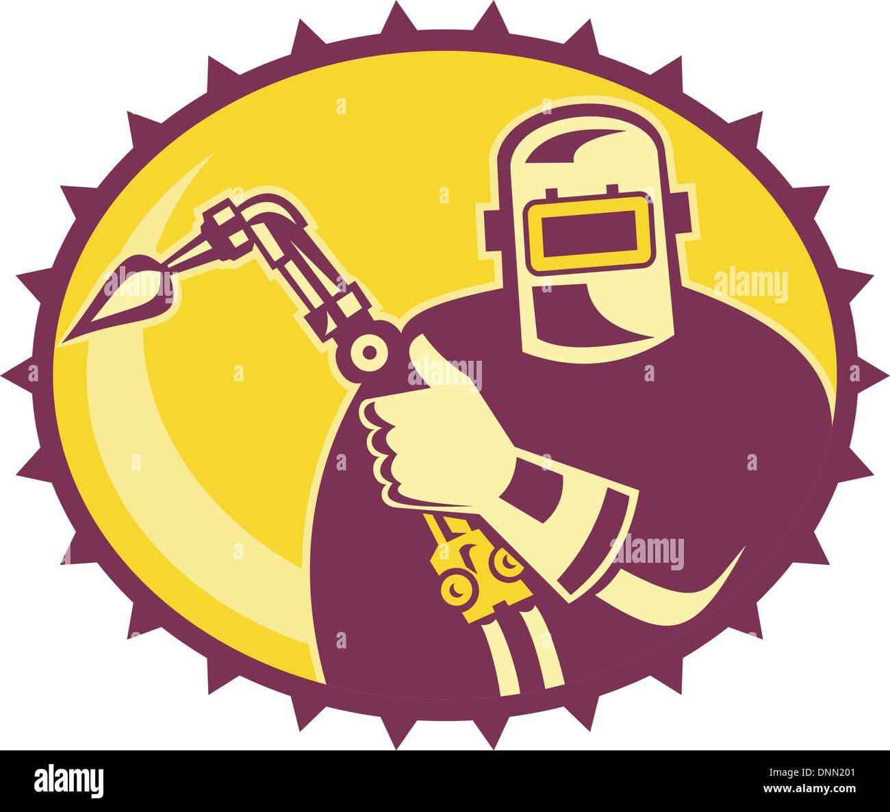 Ilustração de um soldador trabalhador psq com maçarico de soldagem situada no interior da elipse feito em estilo Ilustração do Vetor