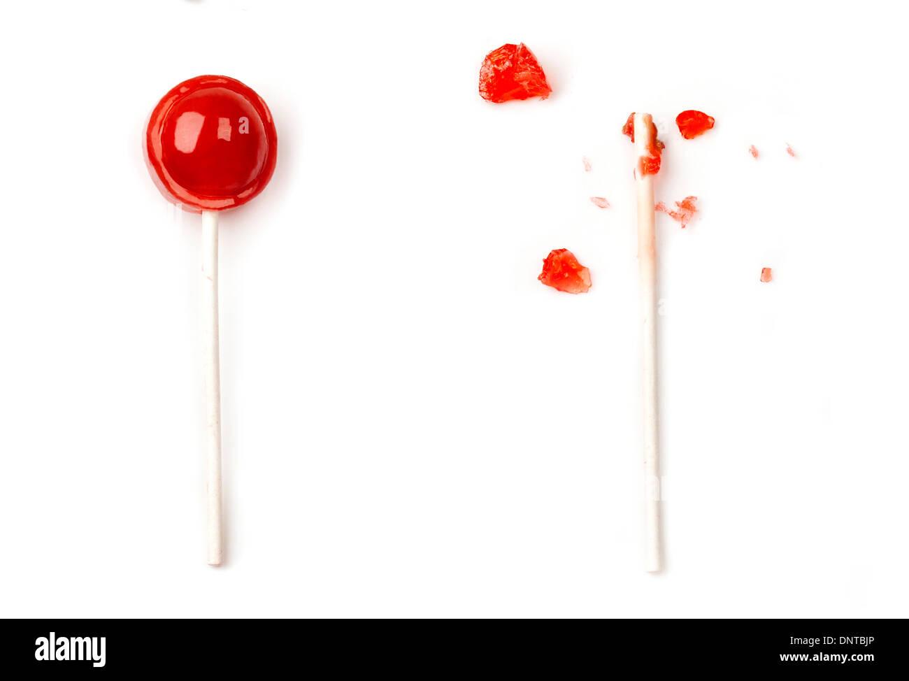Comido tootsie roll pop Imagens de Stock