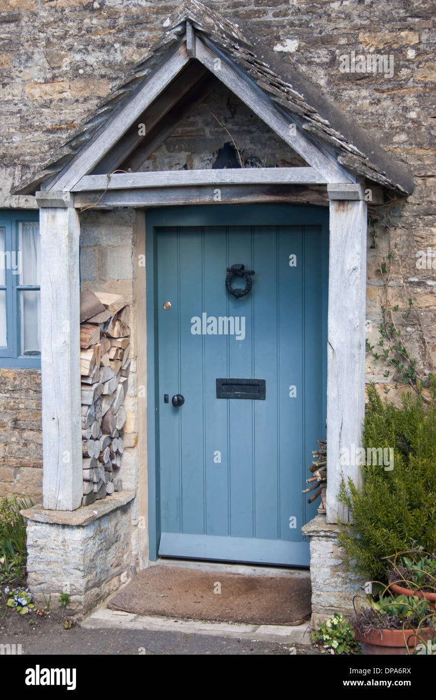 Traditional Stone Cottage Front Door In The Cotswolds