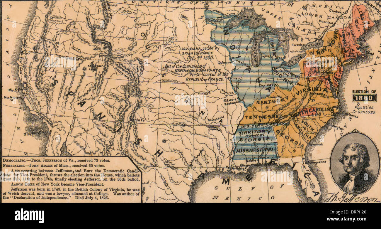 Map Of Usa Election Of 1800 Thomas Jefferson Democrat Receives - Us-map-in-1800