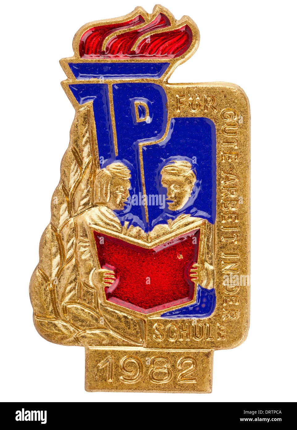 "Rda (DDR) grupo de jovens (Junge Pioniere) badge, ""Für gute Arbeit in der Schule"" - 1982 Imagens de Stock"