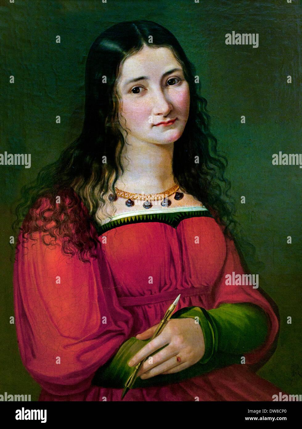 Auto-retrato 1810 jovem romana - Selbstbildnis (Junge Römerin) Sophie Reinhard 1775 - 1843 Alemão Alemanha Imagens de Stock
