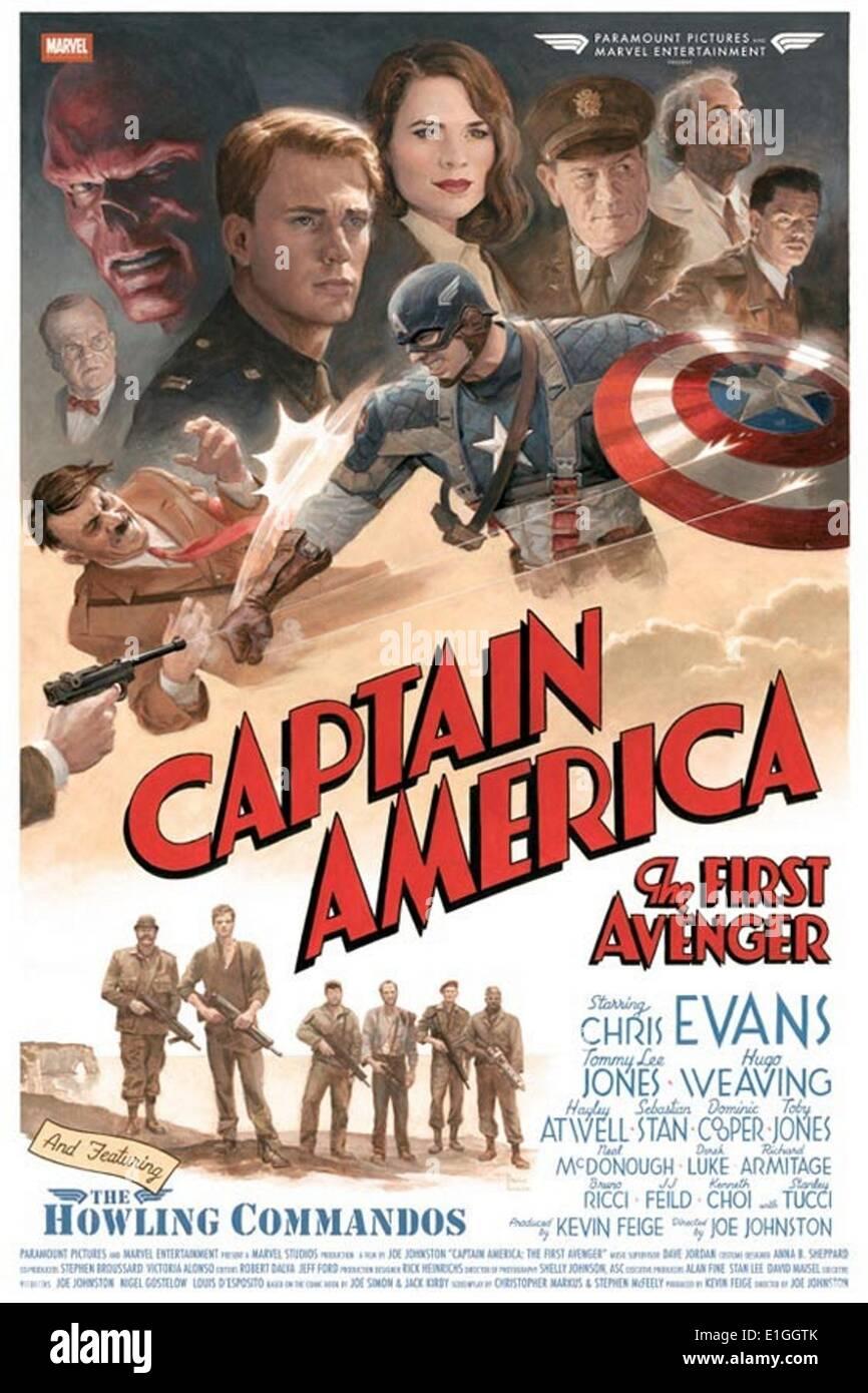"""""""Capitão América"""", o primeiro vingador um 2011 super-herói americano filme baseado no personagem Imagens de Stock"""