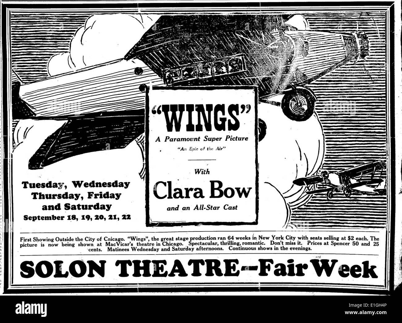 """""""Asas"""", com clara arco, um filme de 1927. Imagens de Stock"""