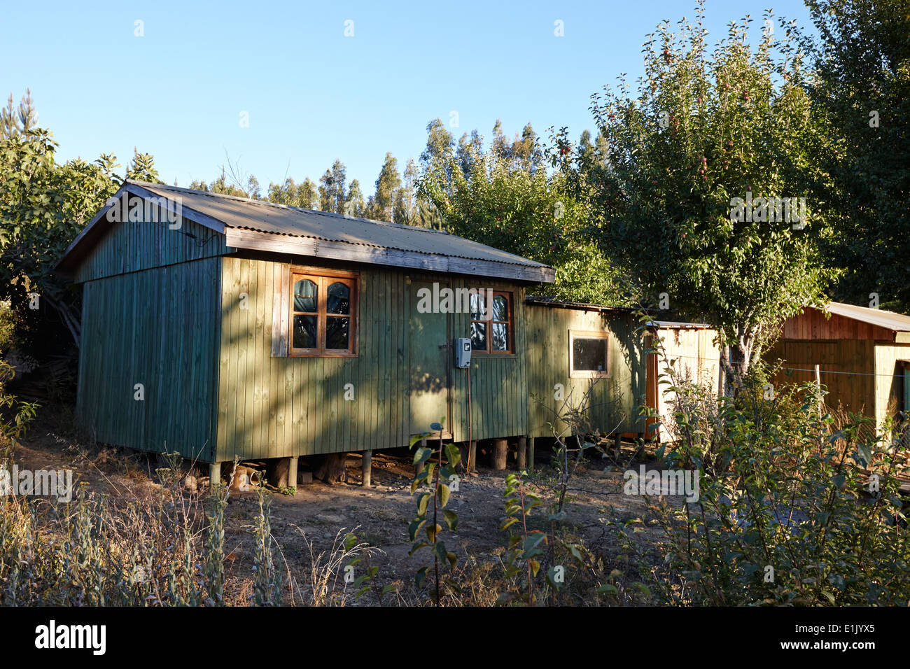 9f1667979f small wooden shack houses in remote rural los pellines chile Stock ...