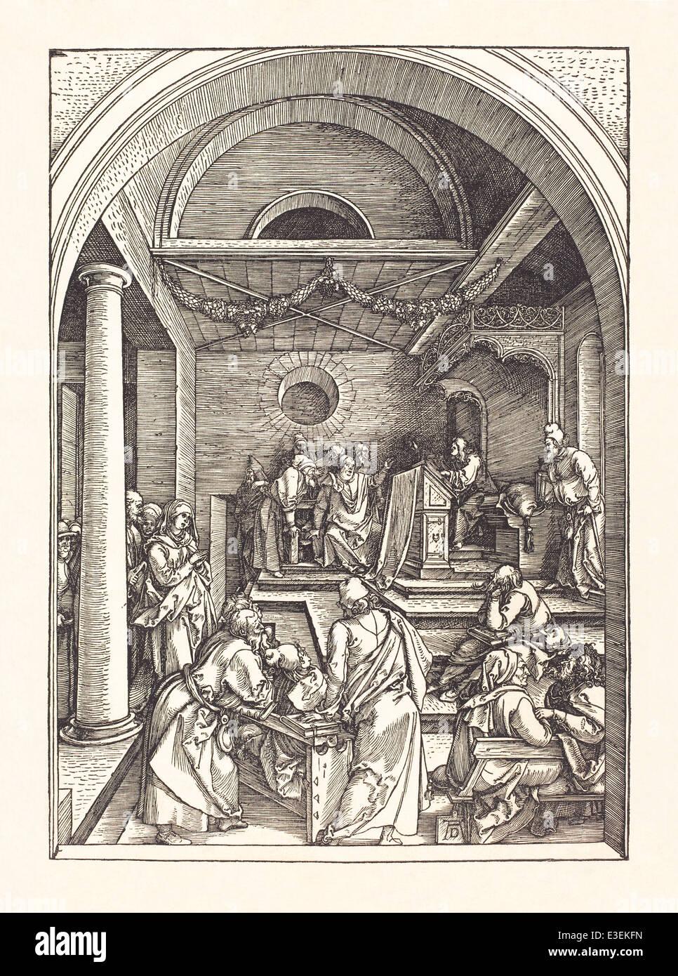 """Albrecht Dürer (1471-1528) xilogravura retratando """"Cristo entre os doutores do Templo"""" publicado Imagens de Stock"""