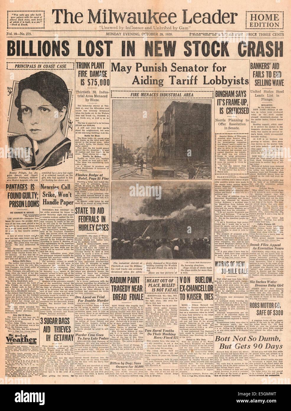 1929 Milwaukee oficial (EUA) página frontal relatar a Wall Street Crash Imagens de Stock