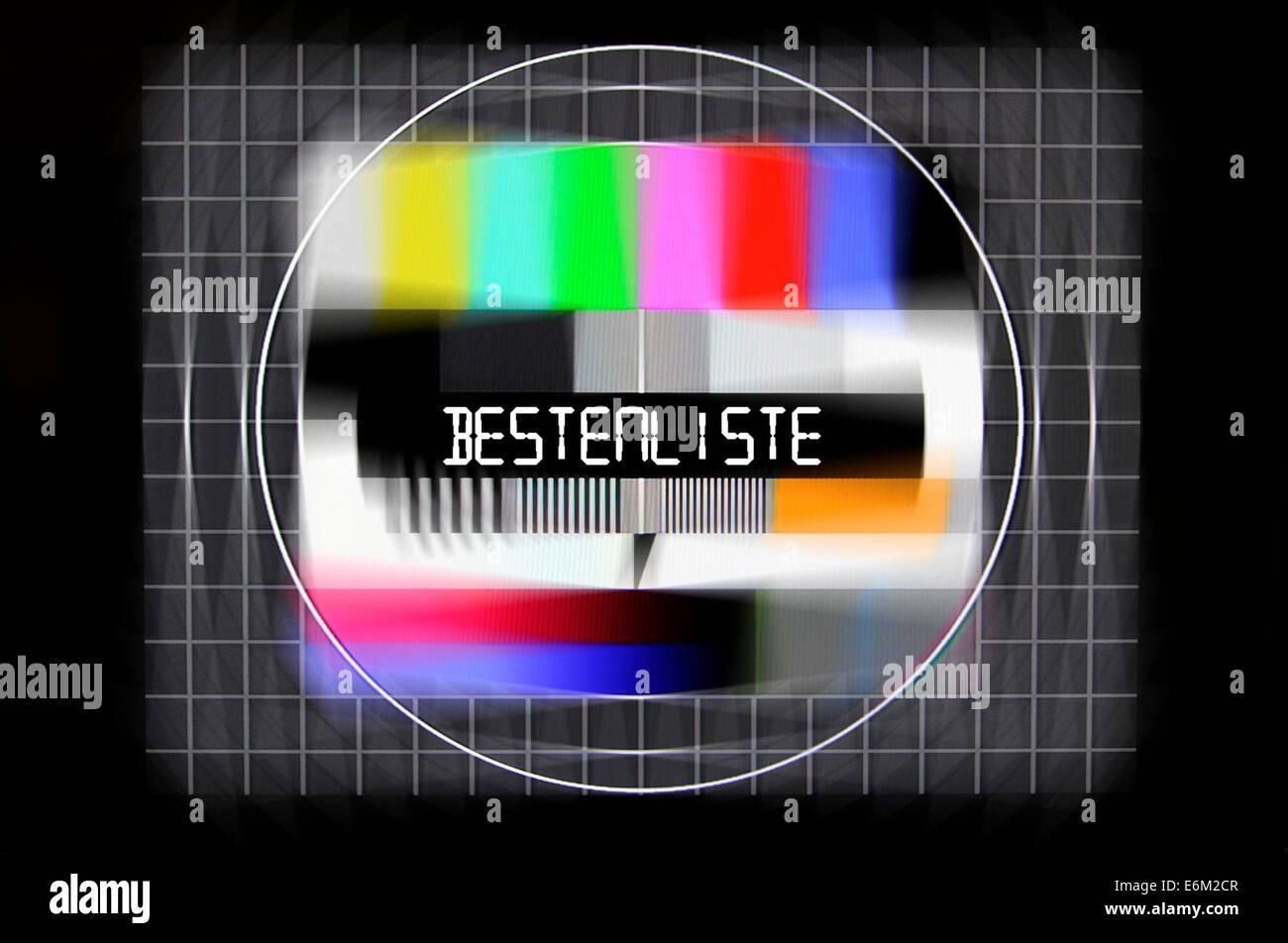 Fernseh-Testbild mit dem Schriftzug Bestenliste, Symbolfoto gefälschte Bestenlisten Imagens de Stock