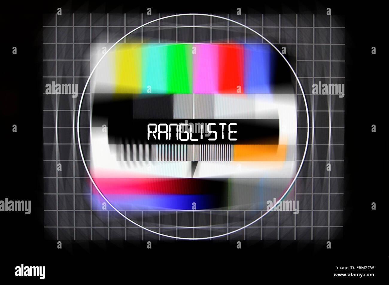 Fernseh-Testbild mit dem Schriftzug Rangliste, Symbolfoto gefälschte Bestenlisten Imagens de Stock