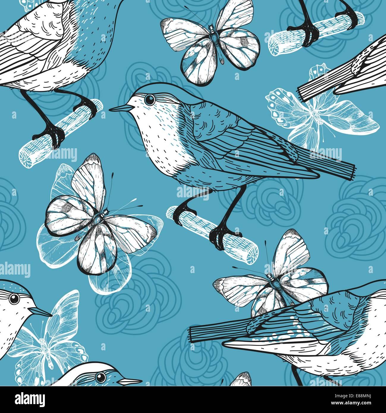 Vetor padrão sem costura com aves e borboletas Imagens de Stock