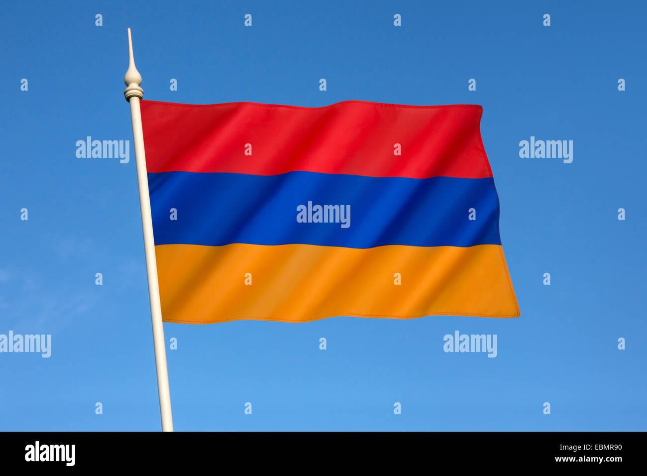 A bandeira nacional da Arménia, o Arménio ou Yeraguyn tricolor. Imagens de Stock