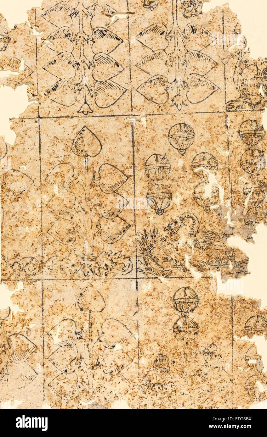 Alemão do século XVI, Carta de jogar, talha Imagens de Stock