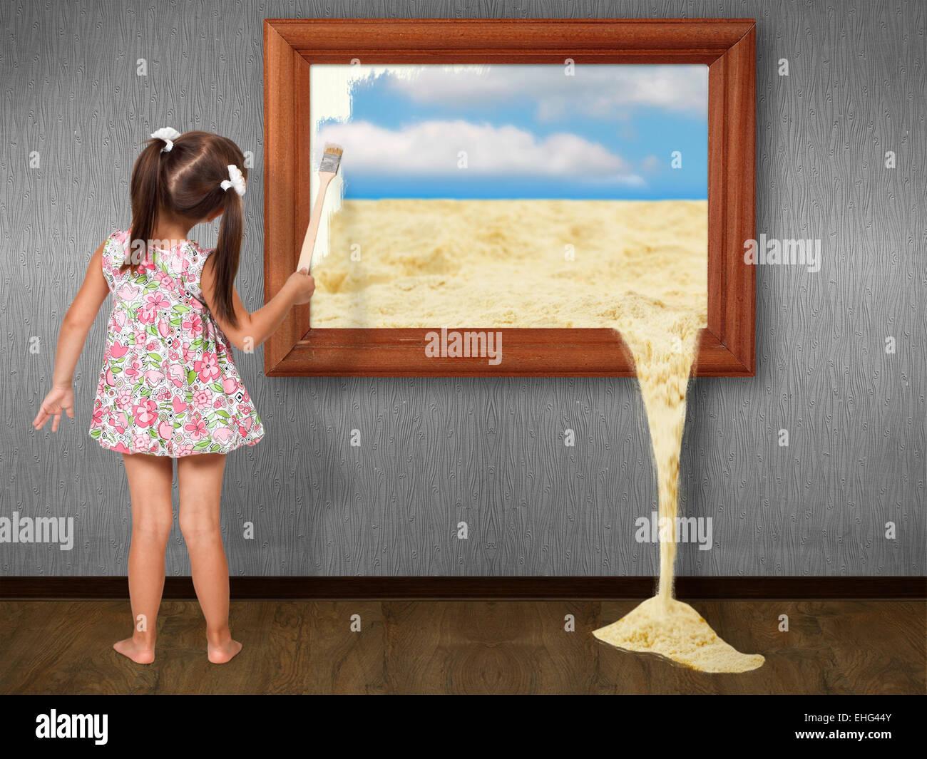 Menina desenho foto, conceito criativo Imagens de Stock