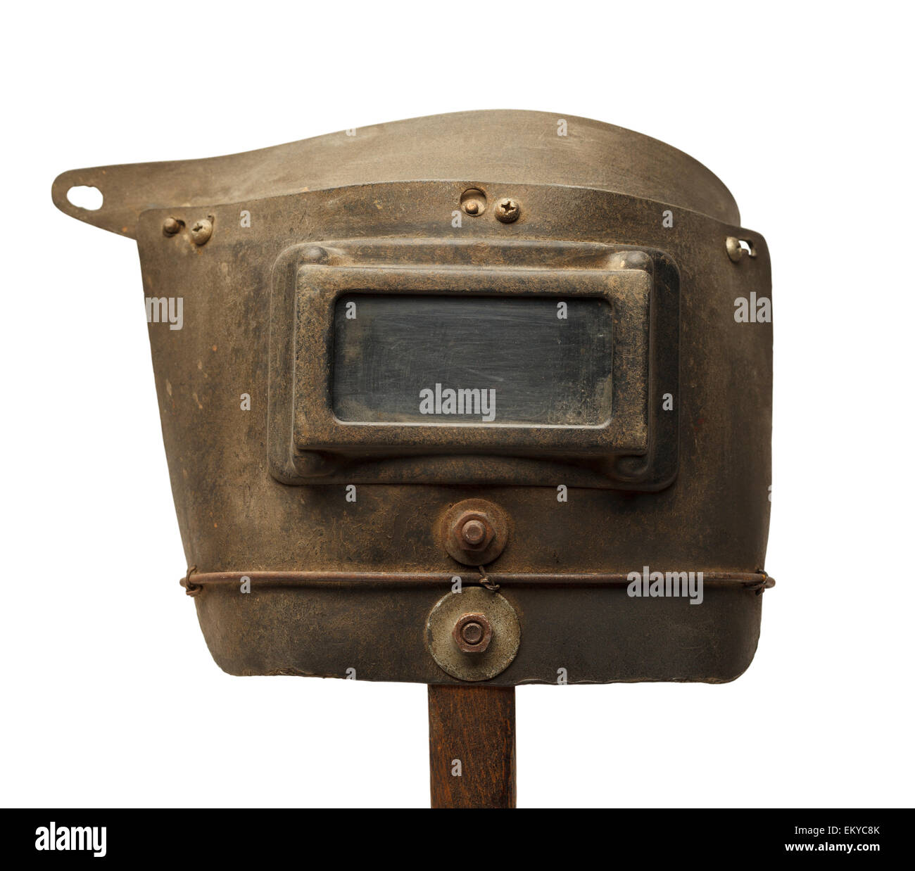 Máscara de soldadura desgastadas velhas isolado no fundo branco. Imagens de Stock