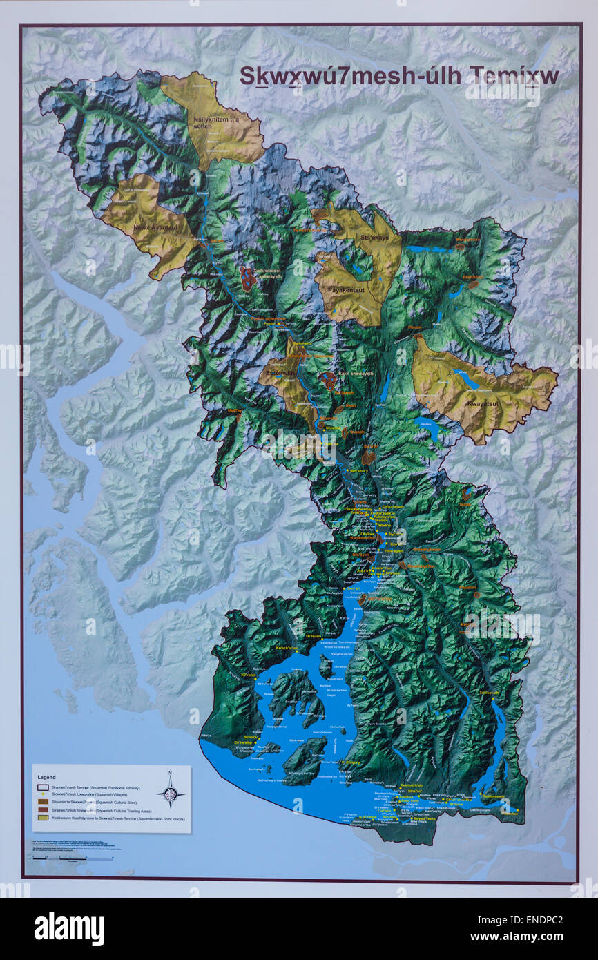 Relief map of the Squamish Indian first nation territory ...