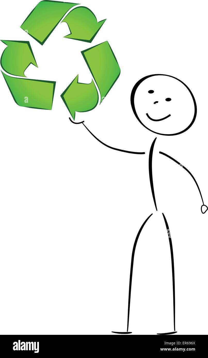 ilustração do vetor de reciclar sinal abstracto conceito de desenho