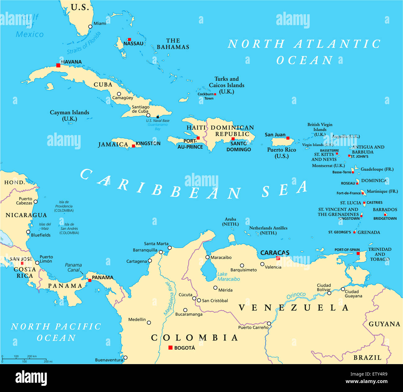 Caribbean Political Map Stock Photo: 84189709 - Alamy