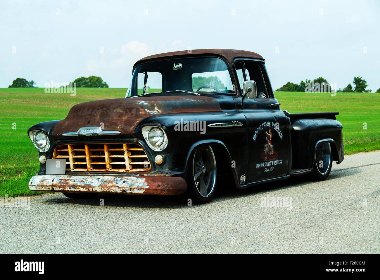 Custom Pickup Trucks >> 1956 Chevrolet Custom Rat Rod Pickup Truck Stock Photo 87413332 Alamy