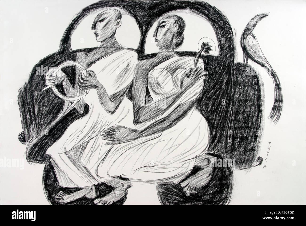 O homem e a mulher no carro com um pássaro desenho no papel feito à mão de carvão