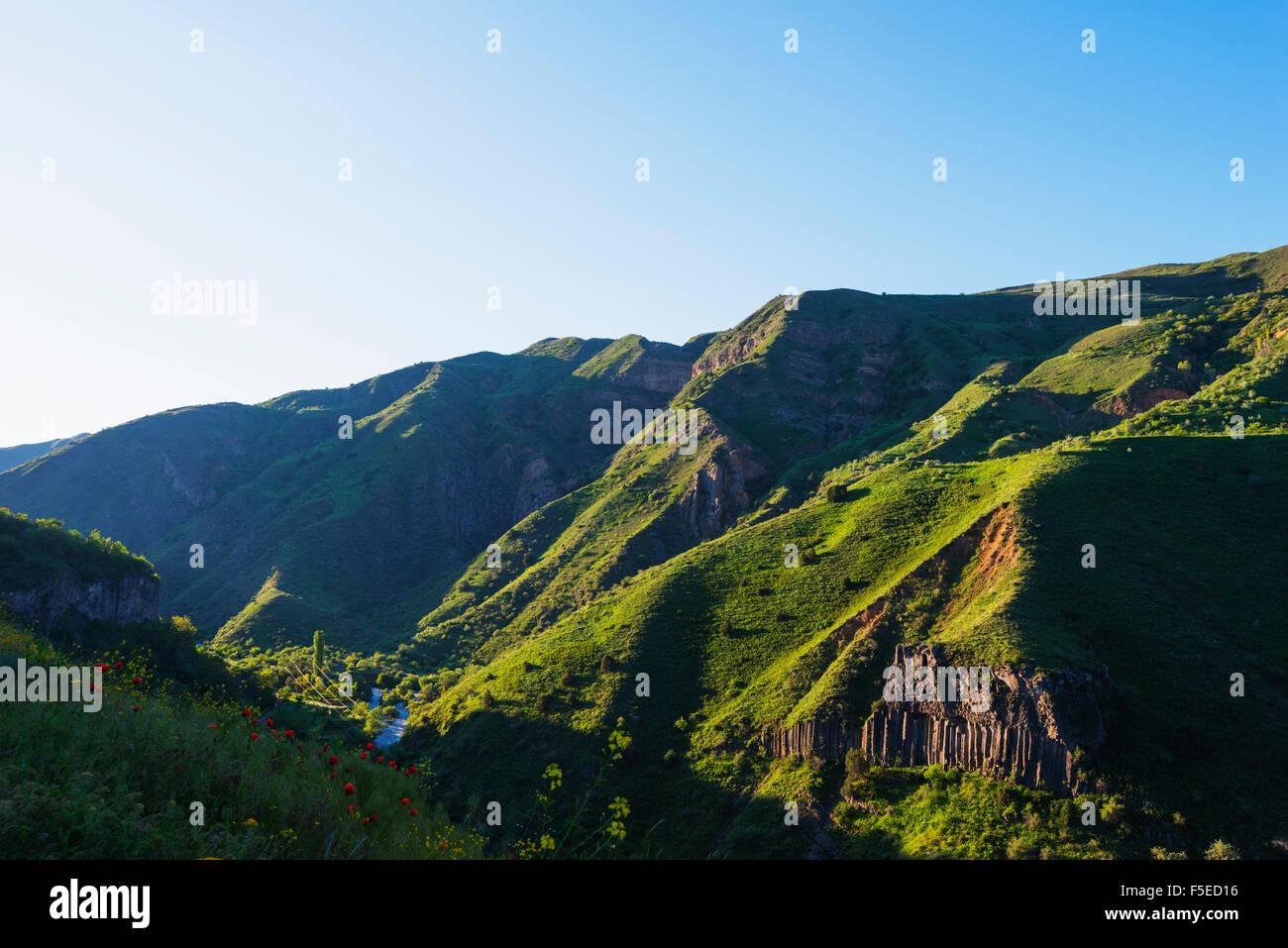 Sinfonia de pedras de basalto colunas, Local de Património Mundial da UNESCO, Garni, Kotayk Província, Imagens de Stock