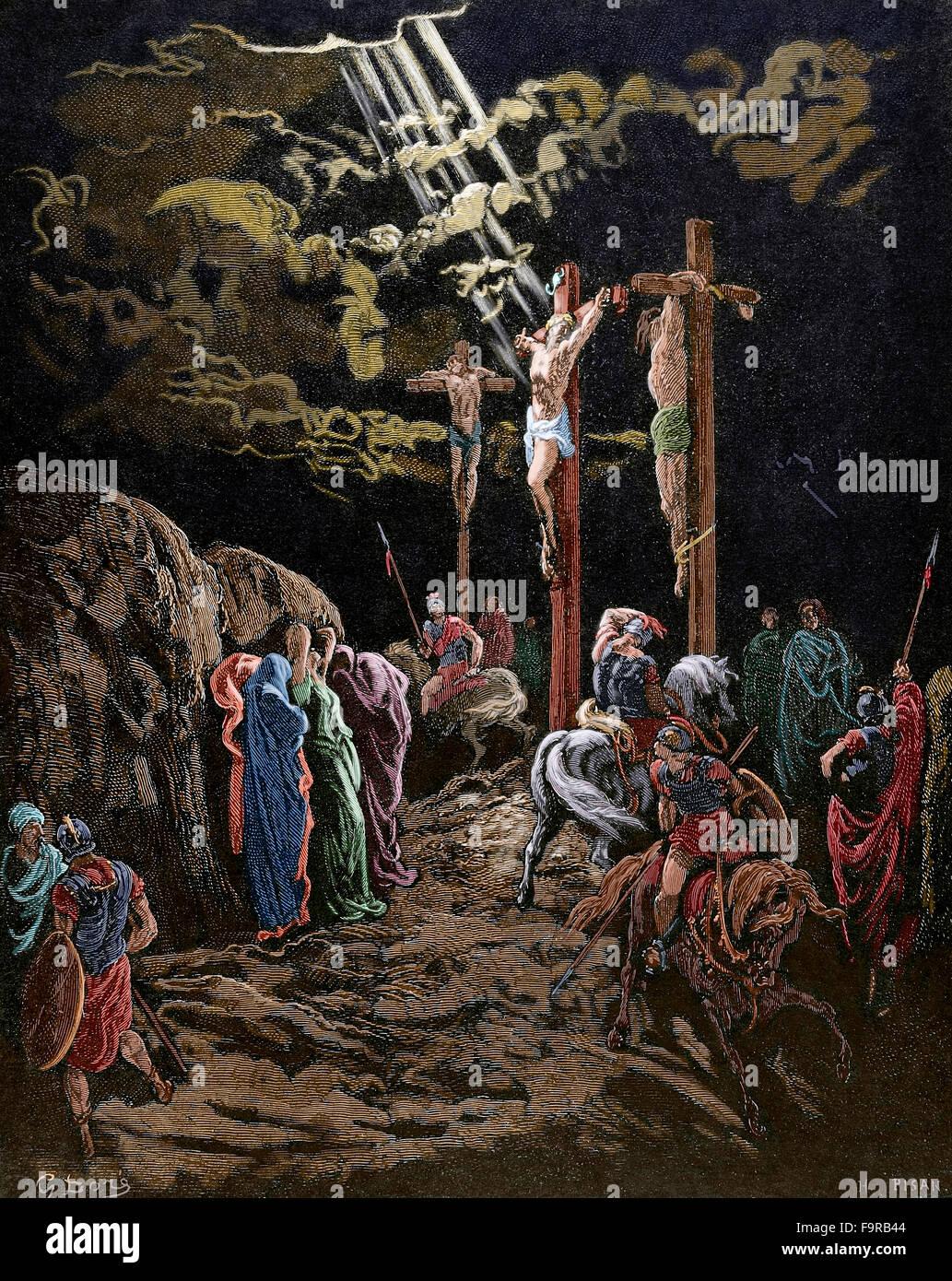 novo testamento calvário jesus morre na cruz desenho por gustave