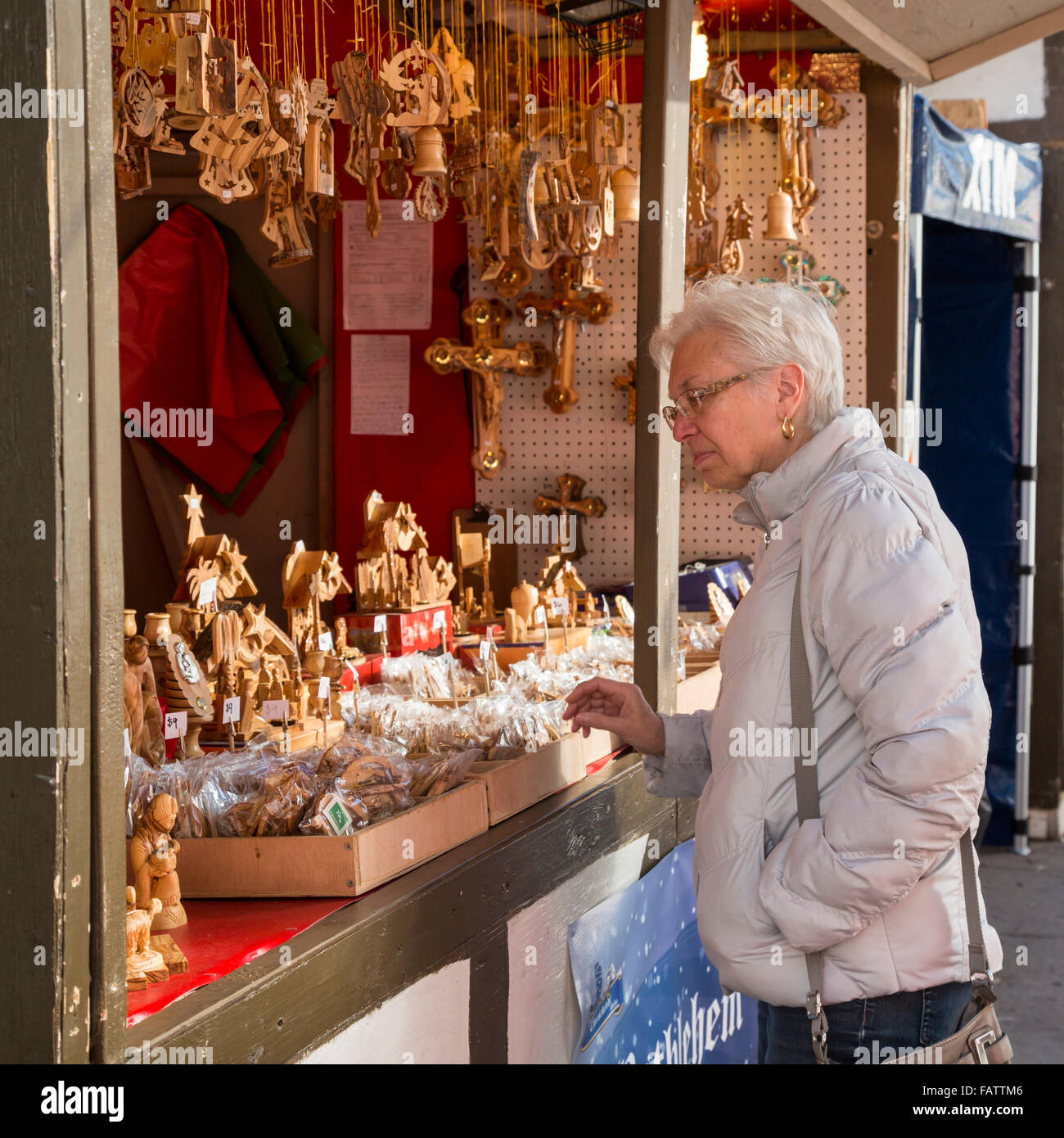 German Christmas Gifts.Denver Colorado A Woman Shops For Christmas Gifts At The
