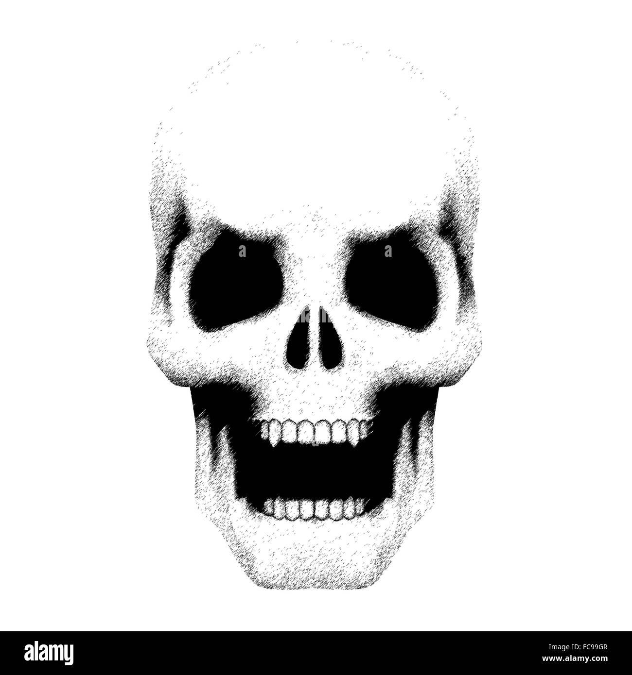 crânio humano com boca aberta no desenho estilo foto imagem de