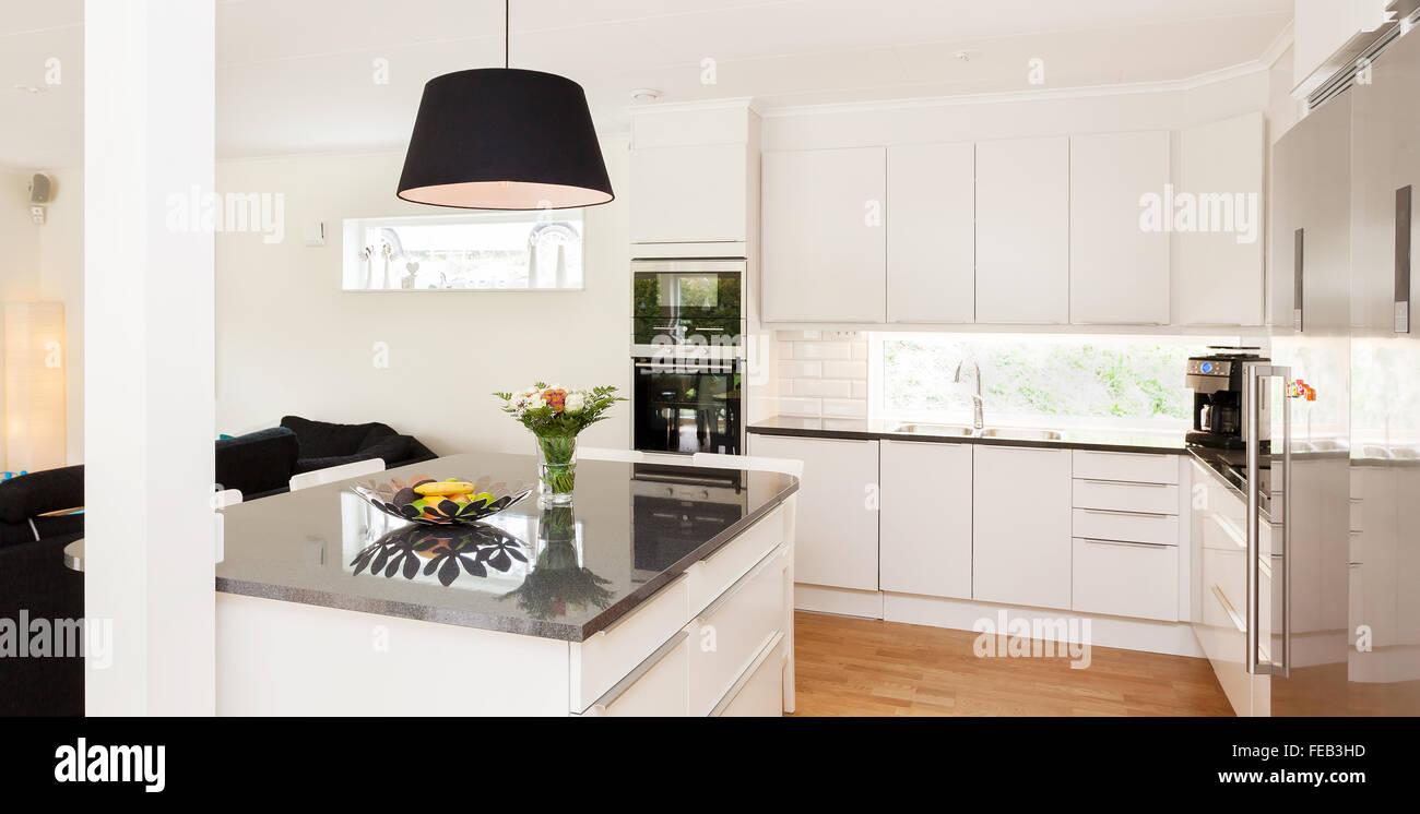 Cozinha De Fantasia Interior Com Cozinha Ilha De Granito Foto