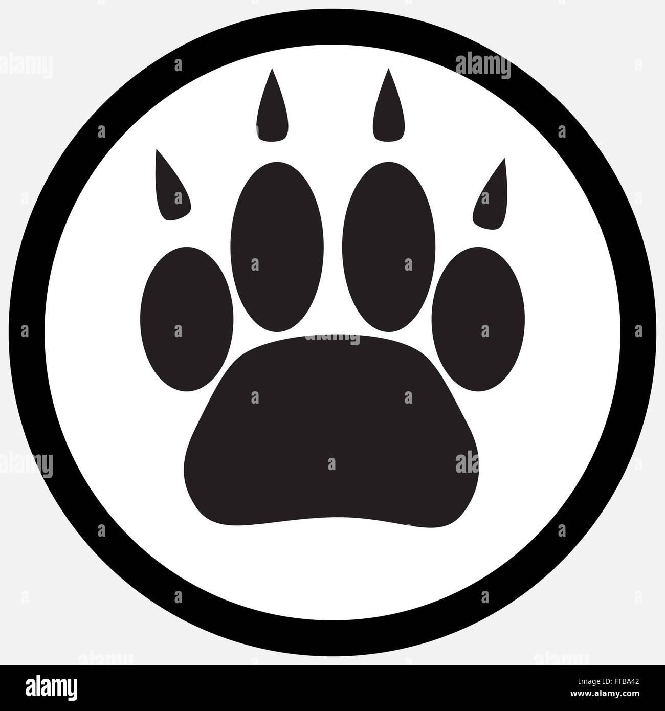 Ícone de impressão monocromática pé animal silhouette cat paw