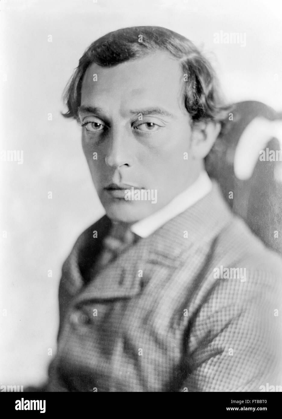 """Buster Keaton. Retrato da estrela cinematográfica silenciosa, Buster Keaton, em """"Geral"""". Imagens de Stock"""