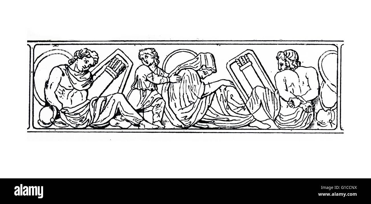 Xilogravura retratando os servos e os forros como Imagens de Stock