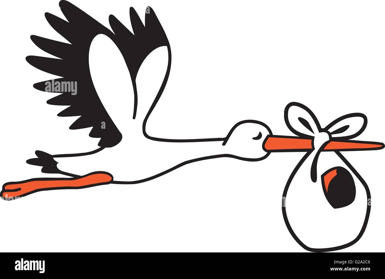 bonitinha cegonha voando com um saco de bebé ilustração do vetor
