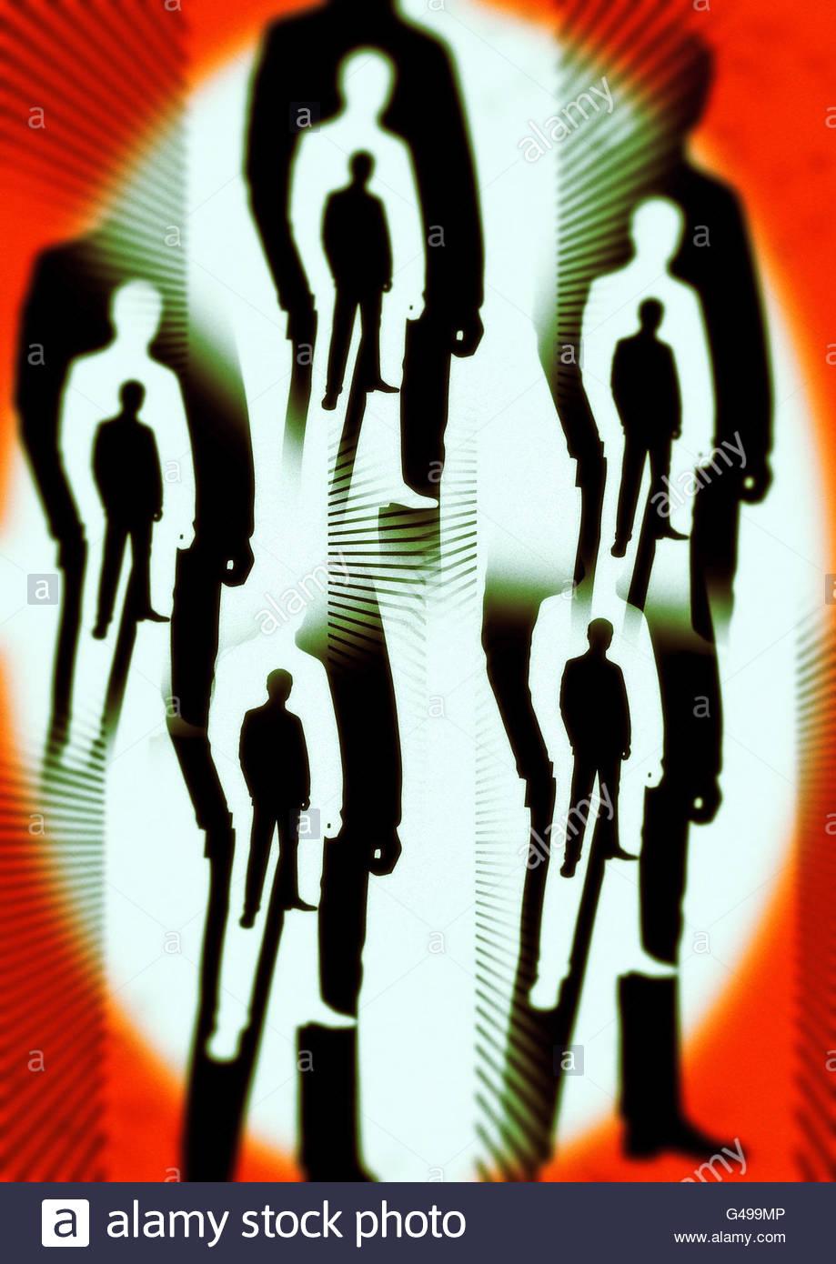 Os homens na área preta 51 Conspiração de roswell ilustração Imagens de Stock