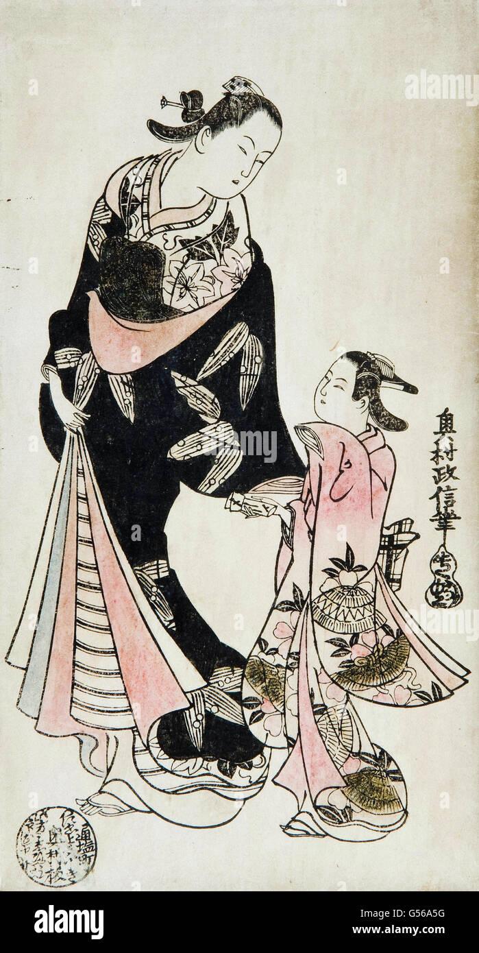 Okumura Masanobu - Xilogravura Imagens de Stock