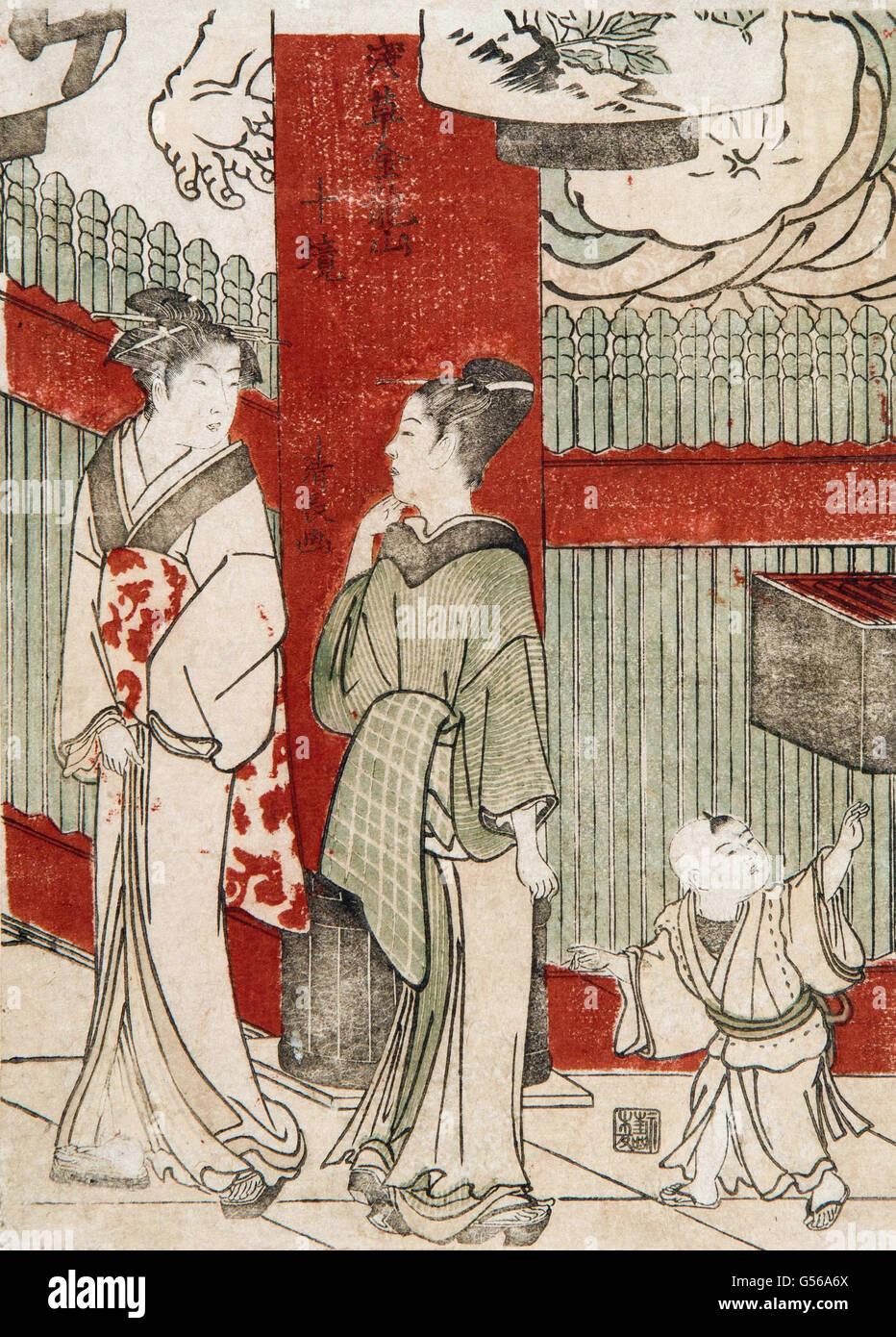 Torii Kiyonaga - Xilogravura Imagens de Stock