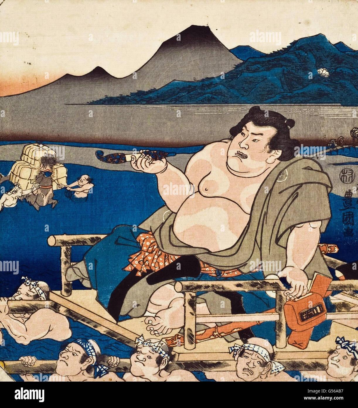Utagawa Kunisada - Xilogravura Imagens de Stock