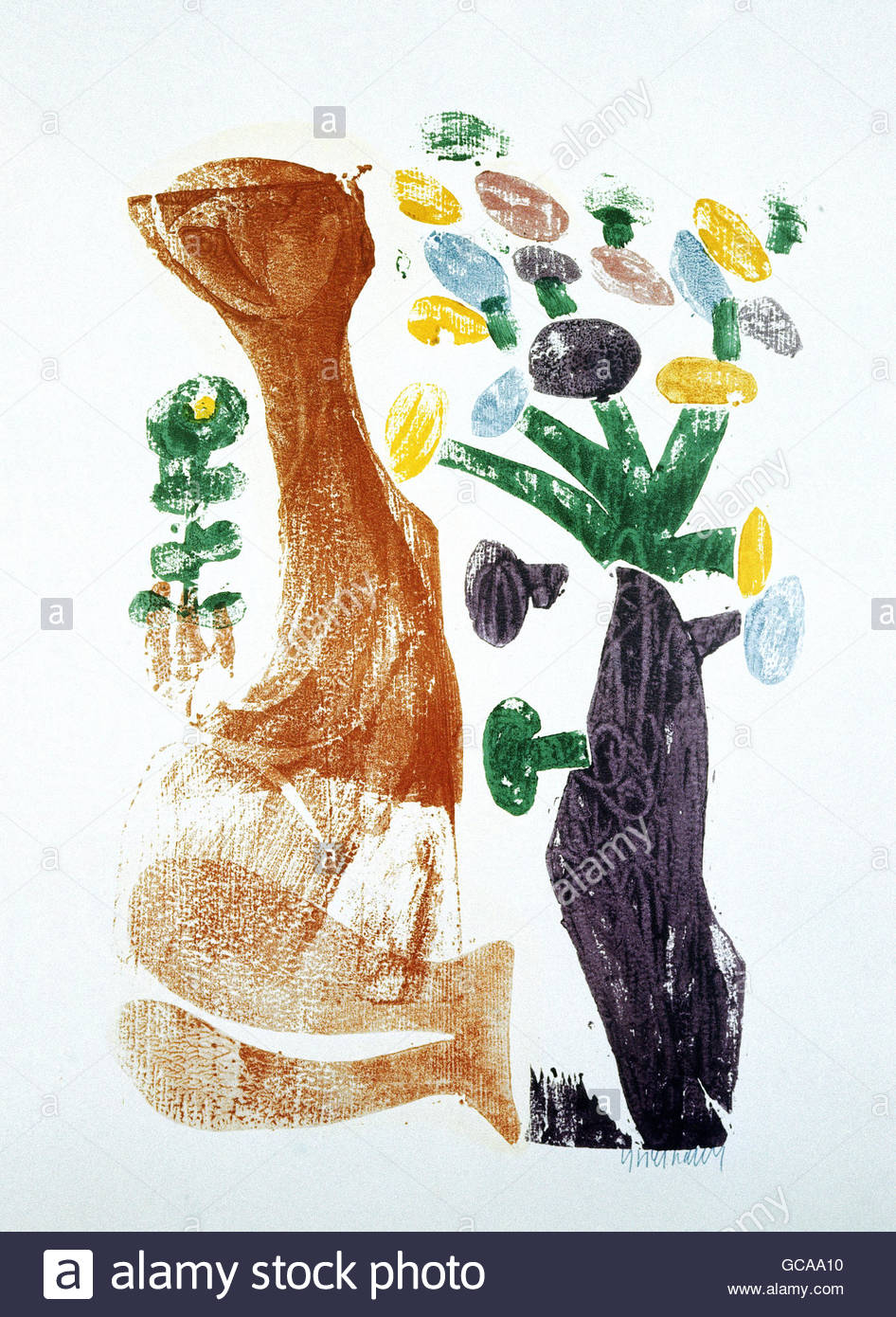 """Belas artes, Grieshaber's, HAP (1909 - 1981), xilogravura, """"Primavera', do artista autor deve também Imagens de Stock"""
