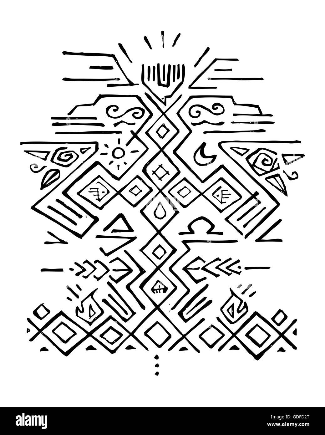 ilustração do vetor desenhado à mão ou desenho de alguns símbolos