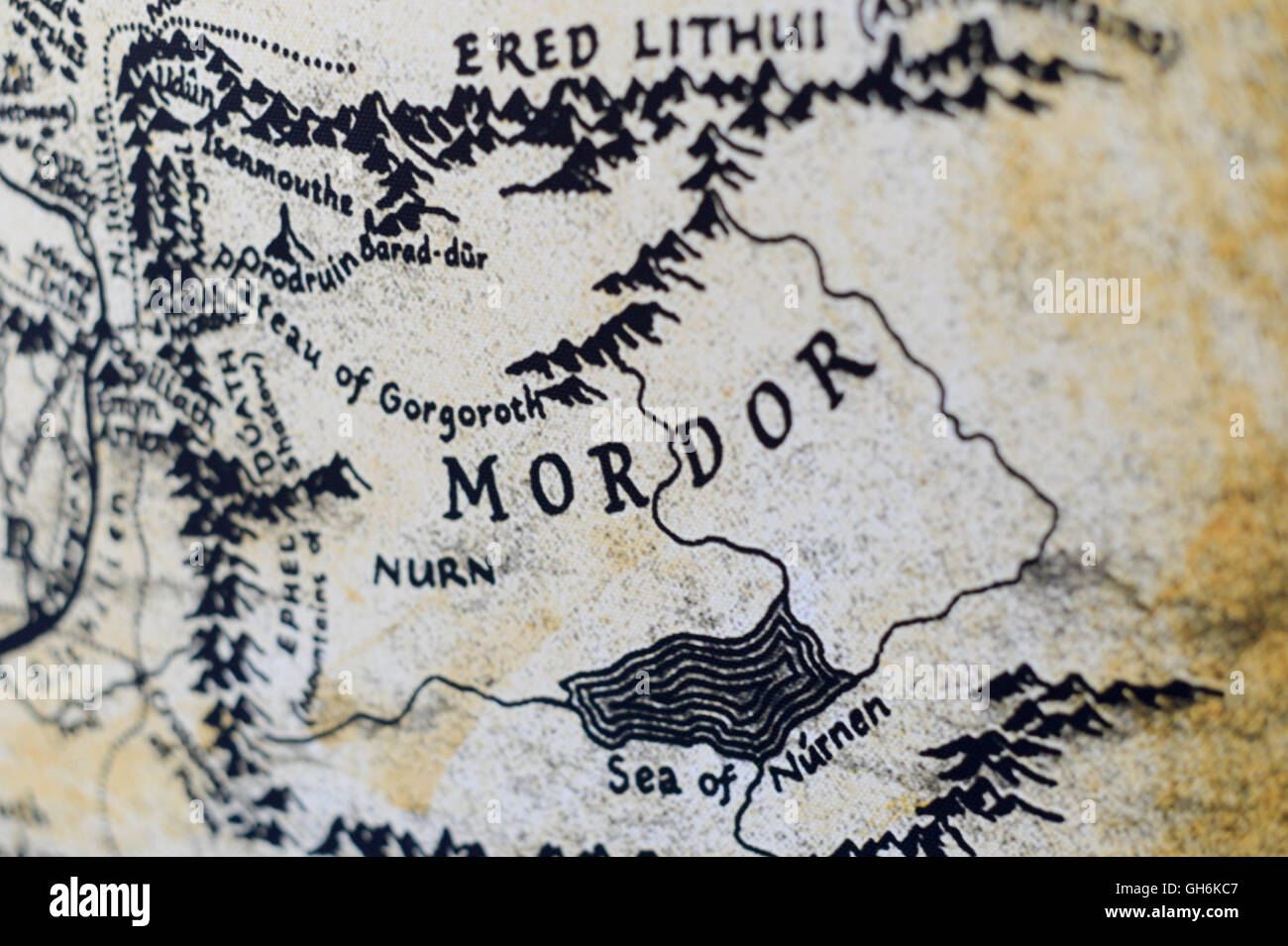 Map Of Mordor Map of Mordor from the Lord of the Rings by JRR Tolkien Stock