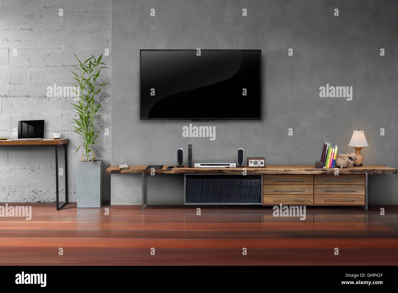 Sala De Tv Led Na Parede De Concreto Com Mesa De Madeira E Plantas  -> Vasos Na Sala De Tv