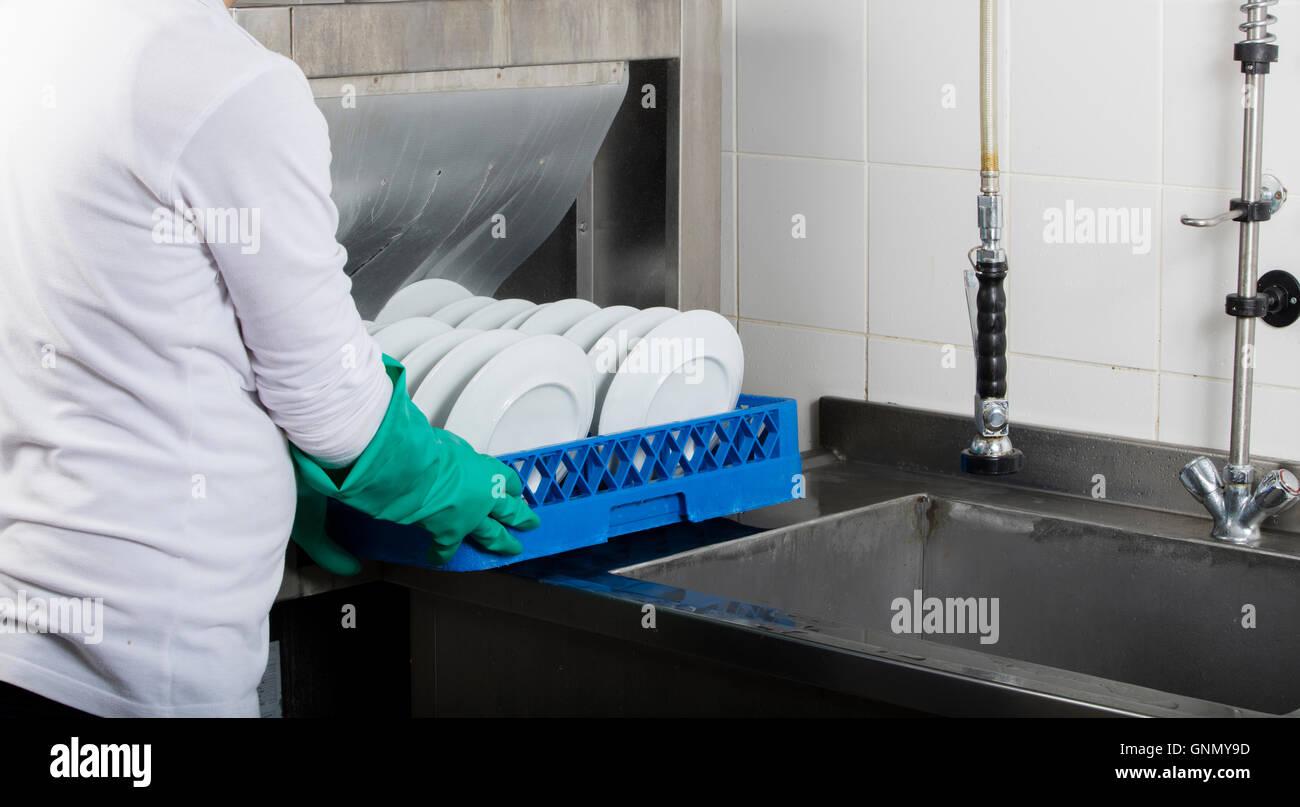 Grande Cozinha Industrial De Lavar Lou A E Uma Pia De A O Inoxid Vel