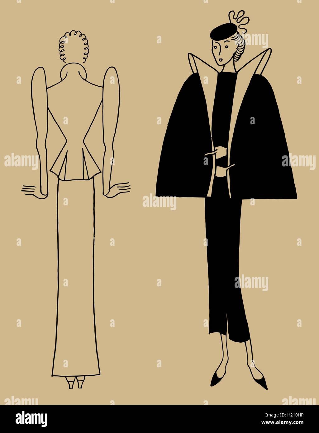 Vintage desenhados à mão. Vestuário feminino 30's. Retro ilustração no antigo estilo Imagens de Stock