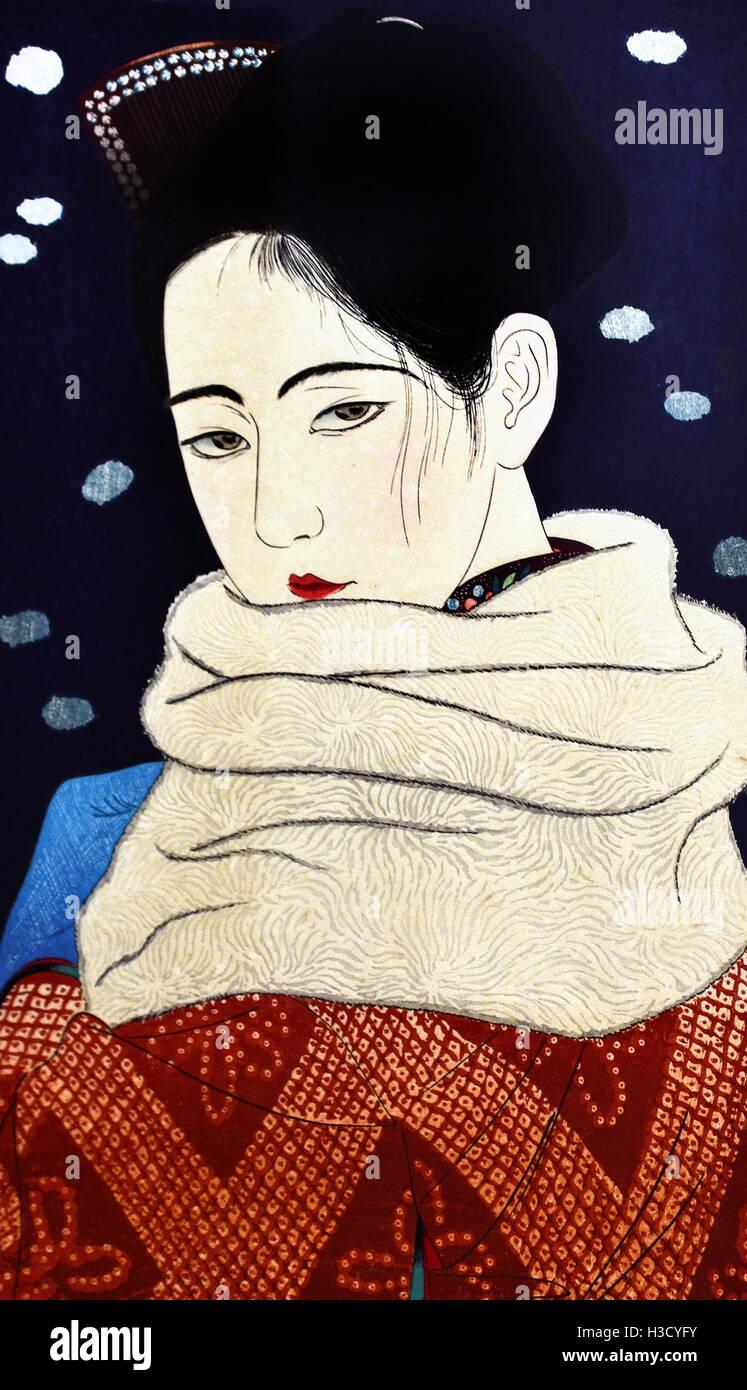 Alunos 1931 Kobayakawa Kiyoshi 1899-1948 Japão ( cor xilogravura sobre papel ) Imagens de Stock