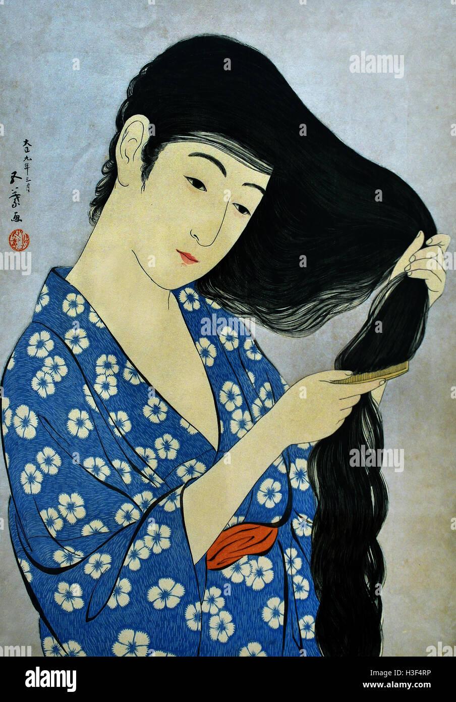 Mulher de pentear o seu cabelo 1920 Hashiguchi Goyo 1880-1921 Tóquio Japão ( cor xilogravura sobre papel Imagens de Stock