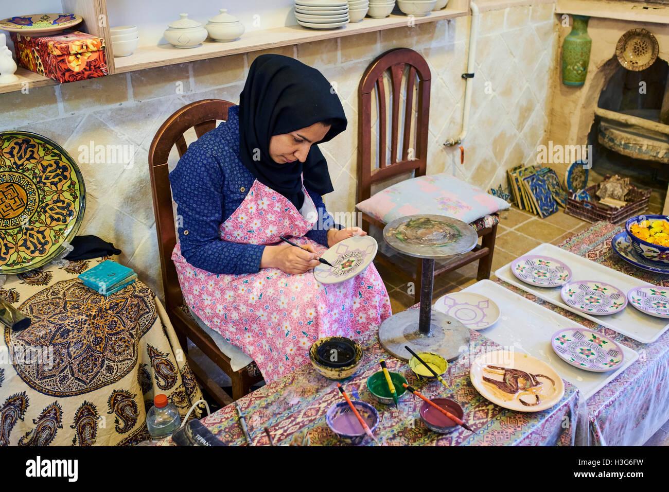 Irão, província de Isfahan, Natanz, fabricação de cerâmica Imagens de Stock