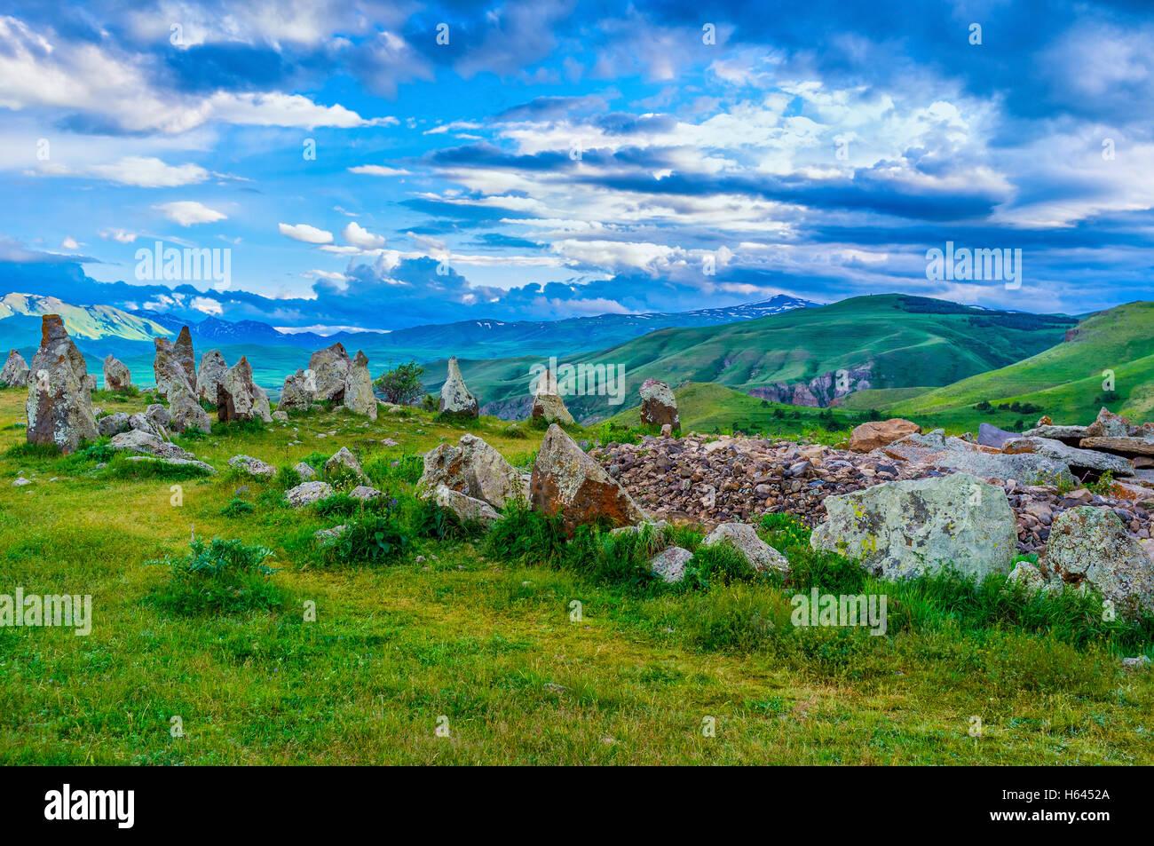 O site do Zorats Karer é o único lugar espiritual, famoso entre os moradores como Stonehenge, Província Imagens de Stock