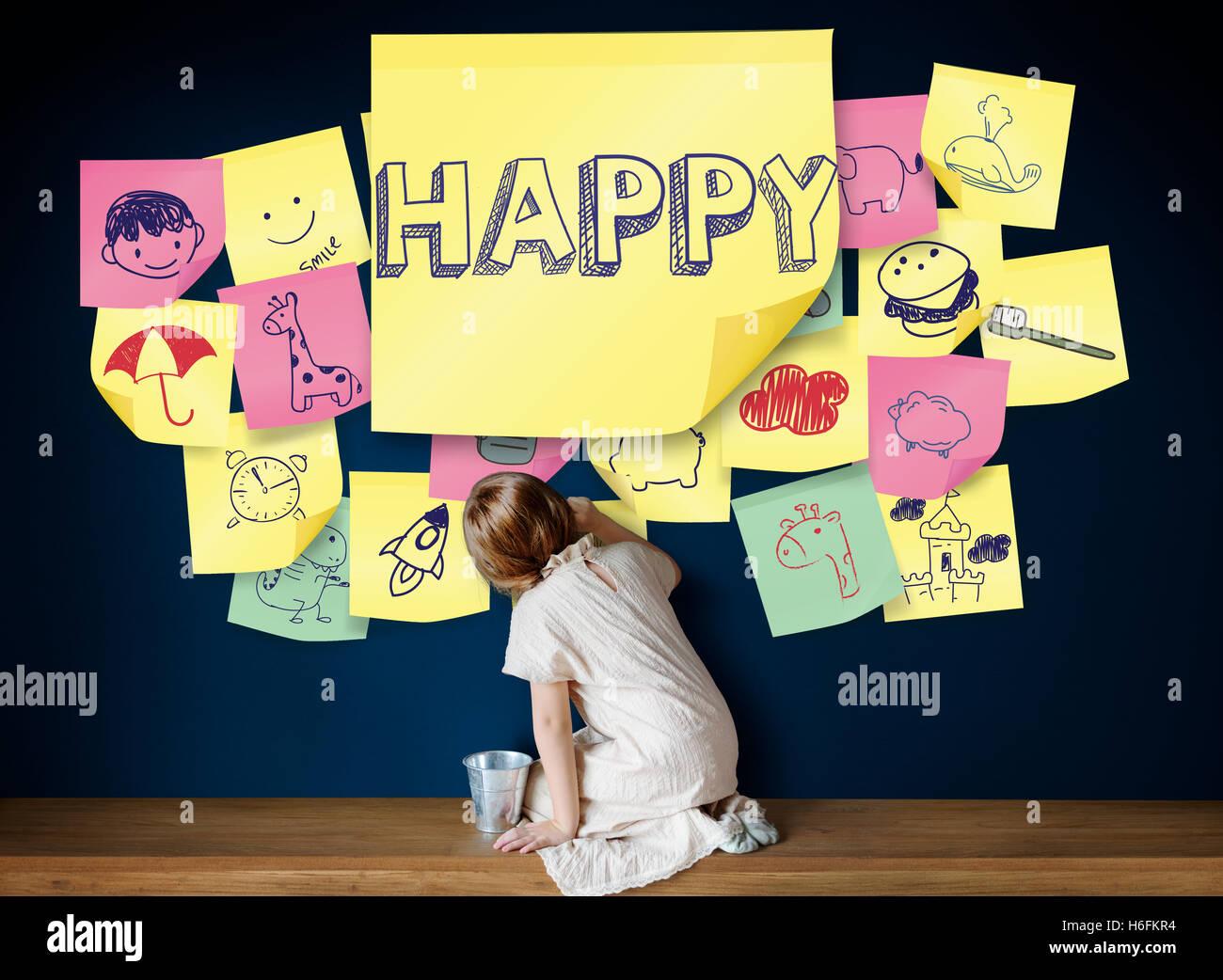 Crianças divertidas felicidade Gozo Infância Conceito Imagens de Stock