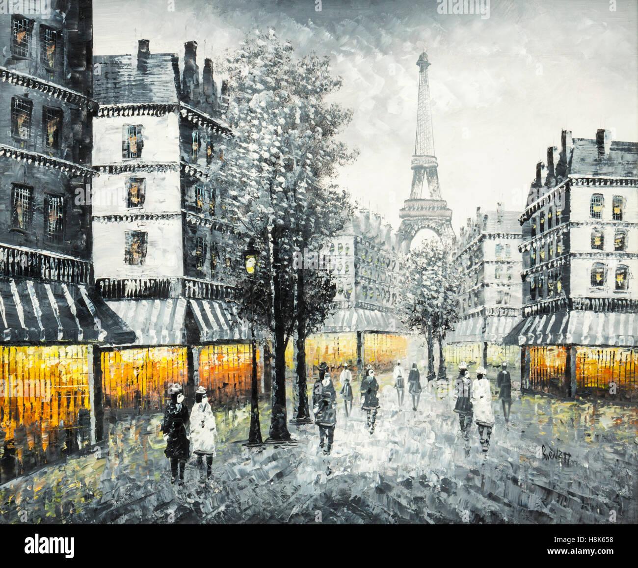 Original oil painting on canvas of a Paris street scene
