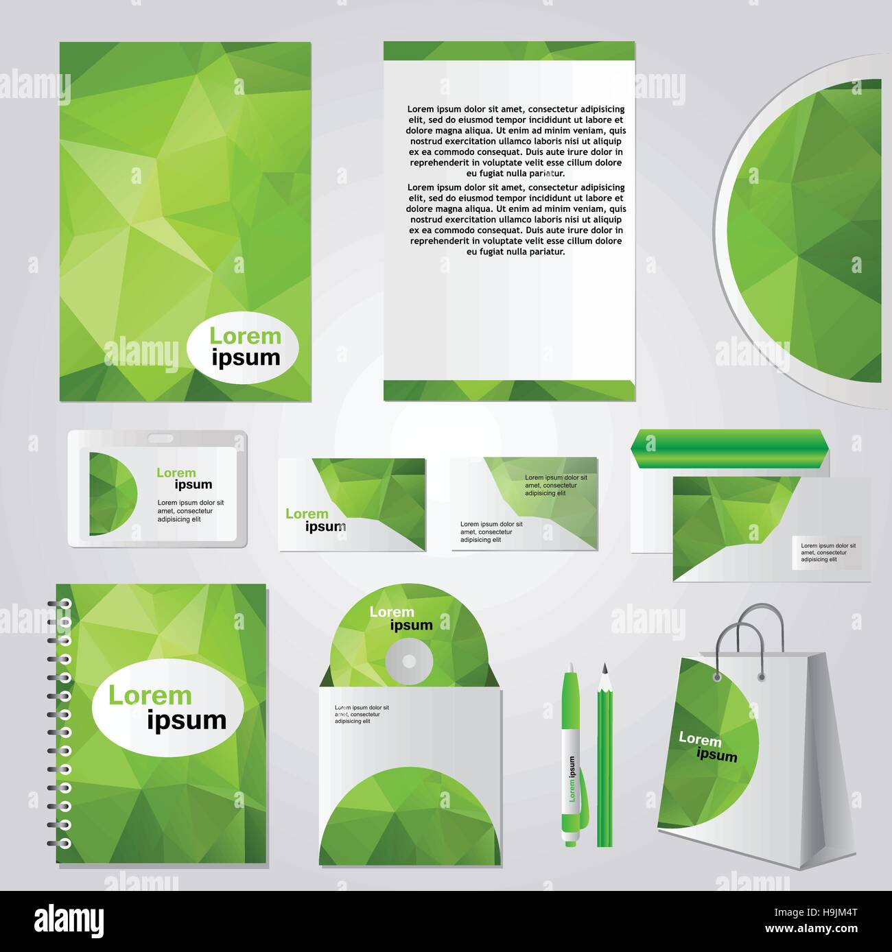 Illustration Design Set Alamy Vector - Identity Corporate Green Art amp; Image Stock Stationery 126415432